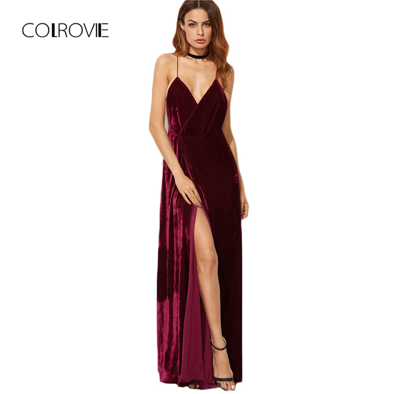 COLROVIE Burgundija Velvet Maxi Obleka za hrbet Ženske jesenske obleke za zabave Deep V neck Long Elegant Dress New Strappy Wrap Dress