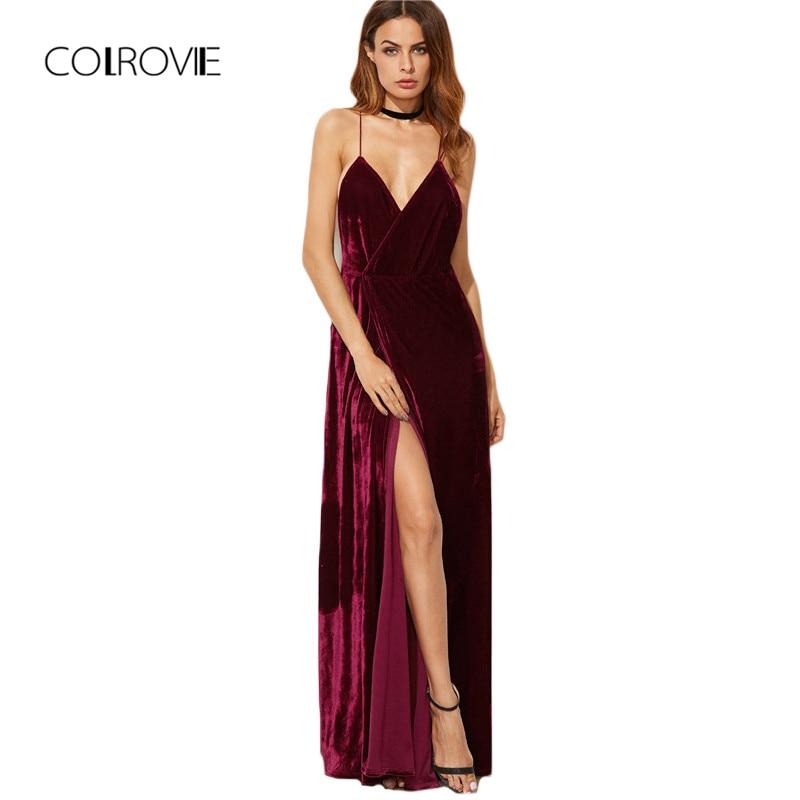 COLROVIE Burgundy Velvet Maxi Backless Dress Womens Autumn Party Dresses Deep V Neck Long Elegant Dress New Strappy Wrap Dress