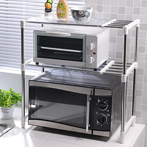 Image 1 - Shuang Qing Verstellbare Edelstahl Mikrowelle Regal Abnehmbare Rack Küche Geschirr Regale Home Storage Rack 7009