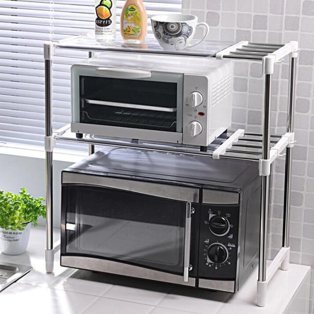 Shuang Qing Verstellbare Edelstahl Mikrowelle Regal Abnehmbare Rack Küche Geschirr Regale Home Storage Rack 7009