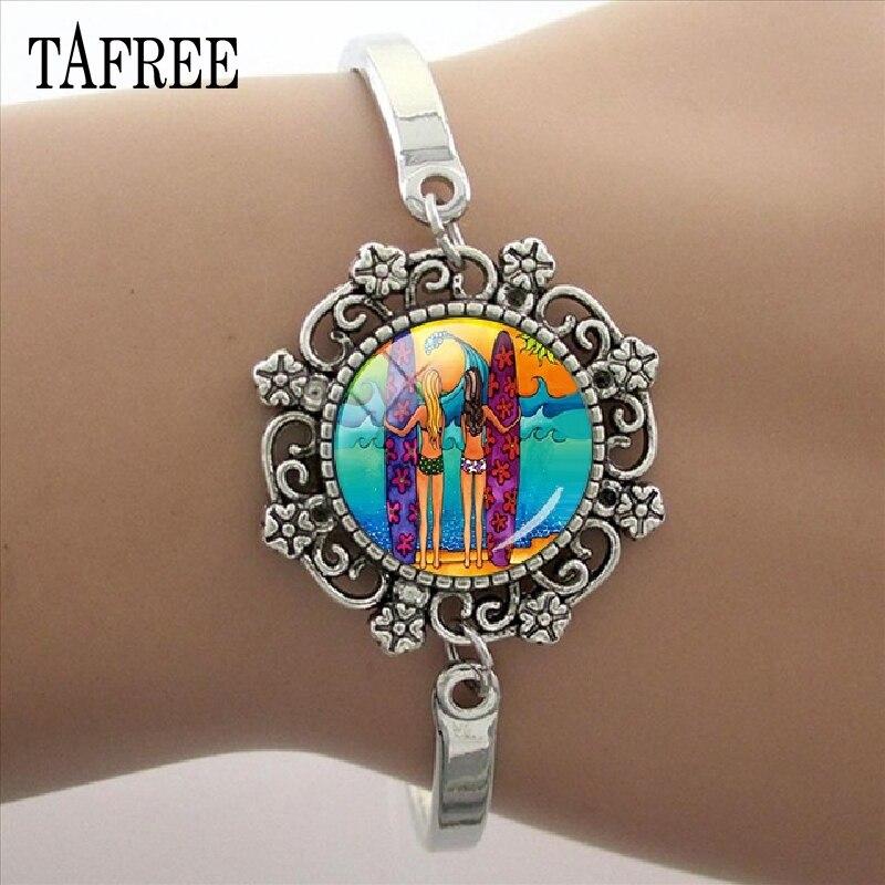 Tafree simples surf oceano onda surf pulseira laço pulseira de vidro cúpula artesanal pulseira para mulher jóias sf42