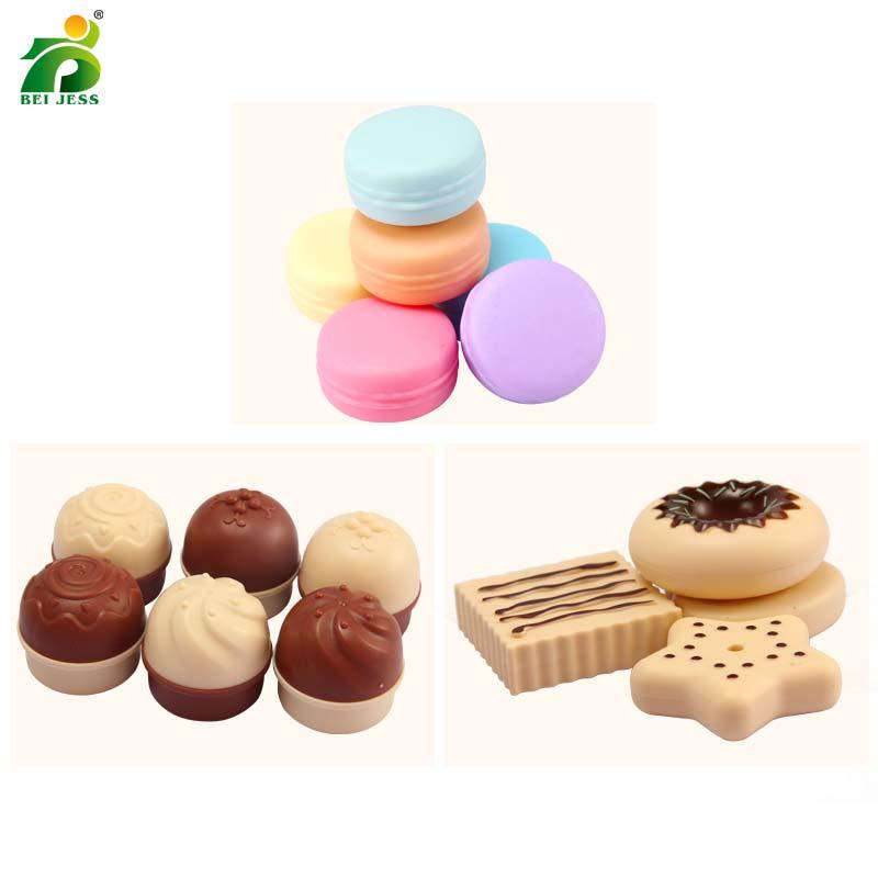 Bei Jess 23pcs Girl Pink Cake Tower Mini Cookie Food Set Plastic Kitchen Toys Kids Pretend Play Birthday Gift #5