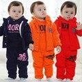 Осень-Зима Детская Одежда Мальчик Мода Повседневная Сращены Руно костюм Ребенка Ребенок Бархат Теплой Одежды Twinset 2 Шт. Набор G373