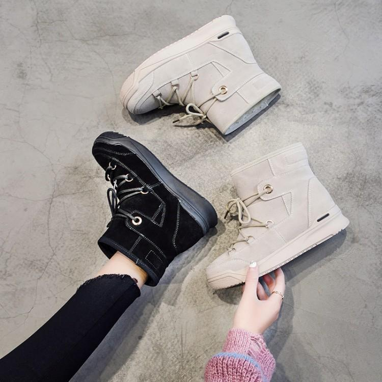 Blanc Croix Dame Suédé blanc Noir Rond Liée Noir Longue Pour Doublure Moyen Caoutchouc Talon Cheville Bottes Zapatos Femmes Femme Peluche Chaussures Bout Yybfv6gI7