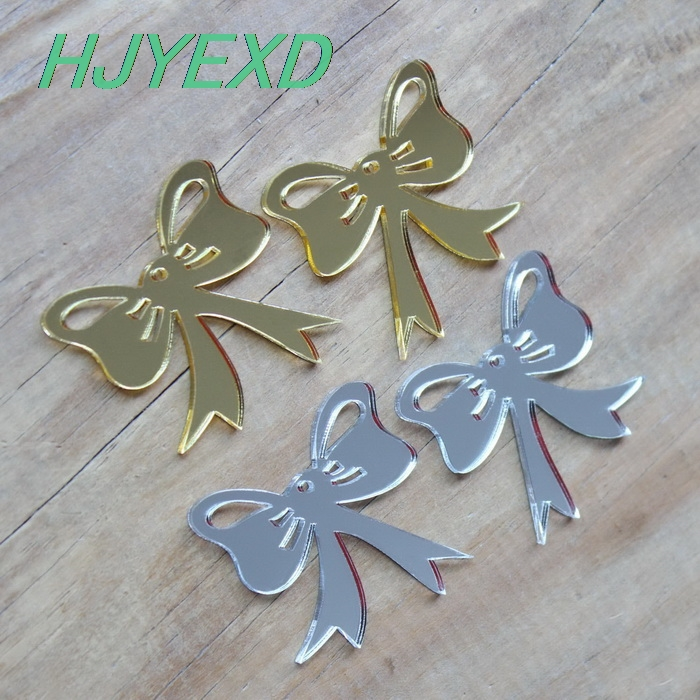 Laser Cut Gold Platinum: 40mm Acrylic Bow Ornametns For Earrings Gold Mirror