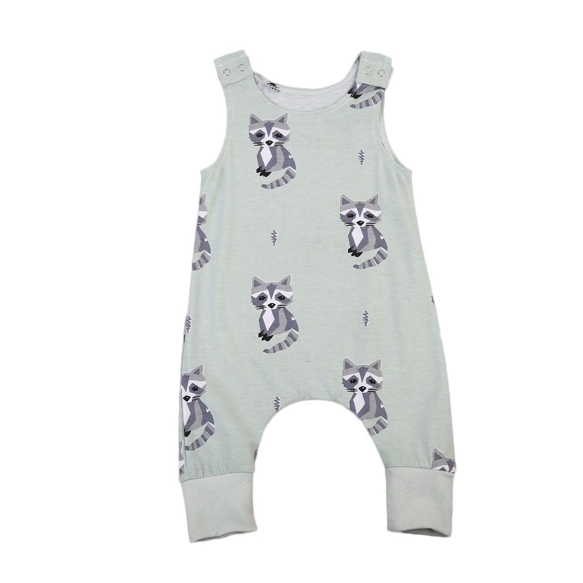 Pudcoco Cute Newborn Baby Boys Girls Racoon Romper Summer Sleeveless Clothes Jumpsuit Outfits Clothing pudcoco newborn baby girl clothes 2017 summer sleeveless floral romper backless jumpsuit sunsuit children clothes