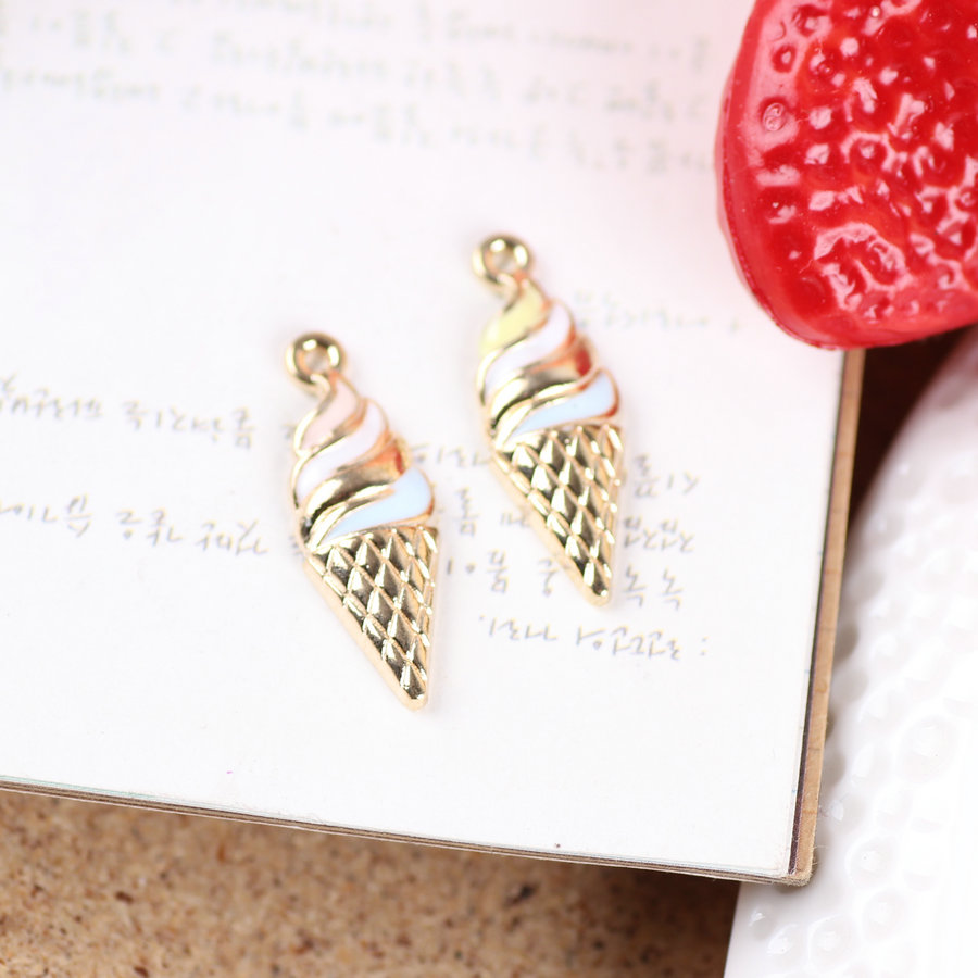 Free Shipping 10*25MM Oil Drop Metal Alloy Ice Cream DIY Jewelry Bracelet Charms Gold Tone Necklace Floating locket Charm