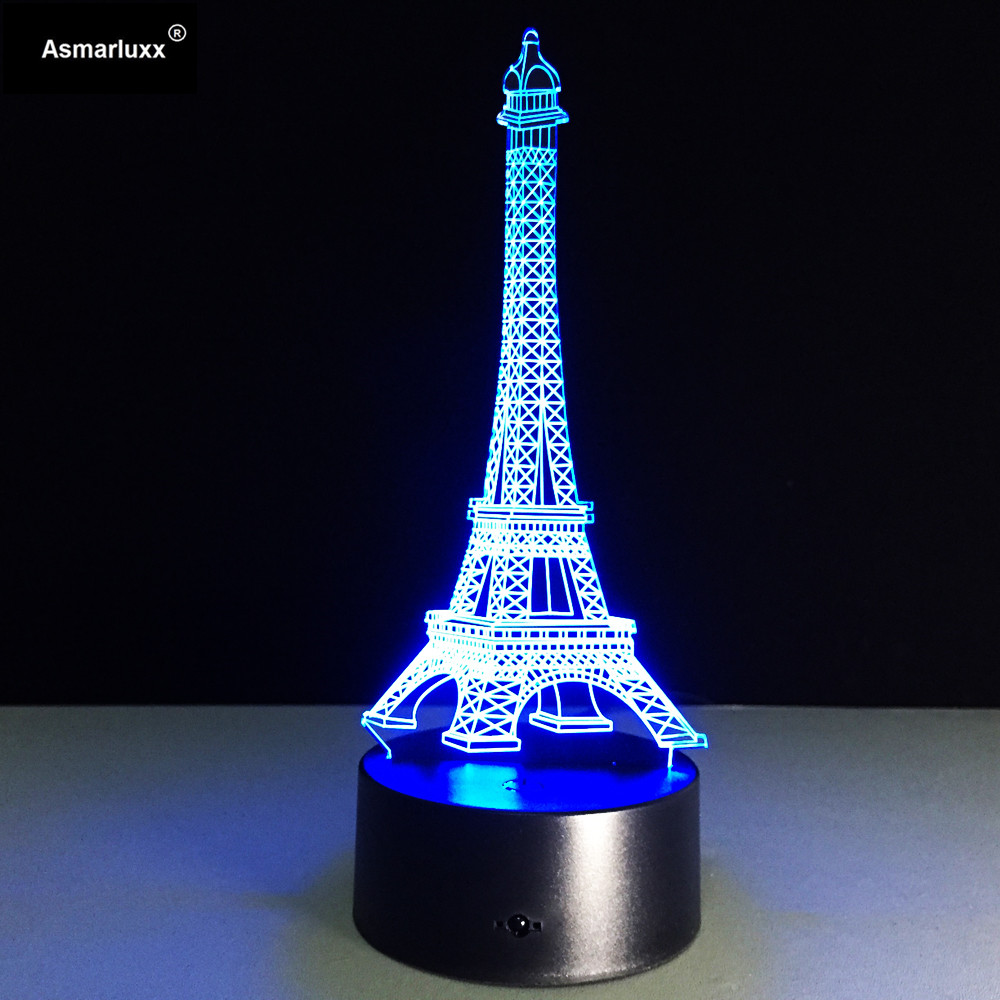 The Eiffel Tower 3D Lamp LED Night Light 3D Illusion Night Lamp Table Desk Lamp Home Lighting Color Changing For Children Gift