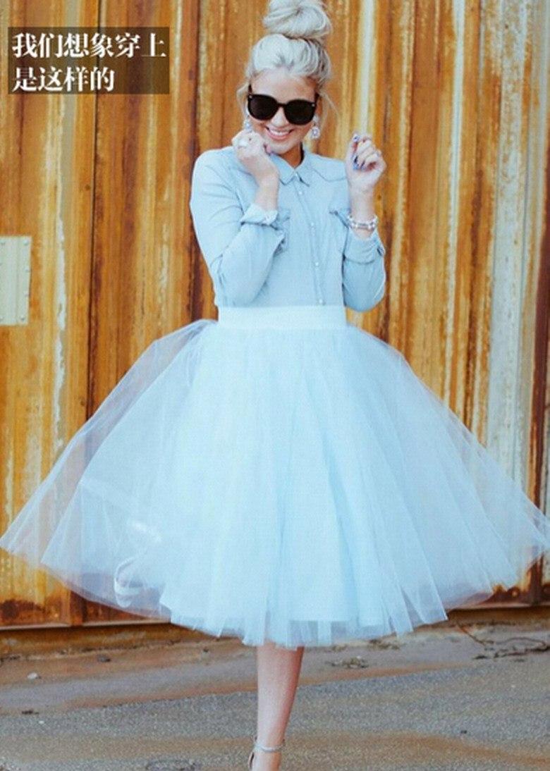 8f1c76ea2 € 32.32 |Para mujer Lolita tul falda de la princesa de cintura alta azul  banquete de boda blanco del vestido de bola Faldas Faldas saia longa Plus  ...