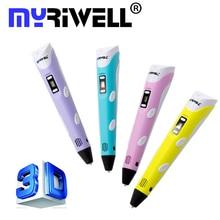 Myriwell Подлинным 3D Ручка 2-го Поколения DIY 3D Принтер Пера каракули для Детей Подарки С СВЕТОДИОДНЫЙ Экран 3D Ручки Творческие Инструменты Рисования