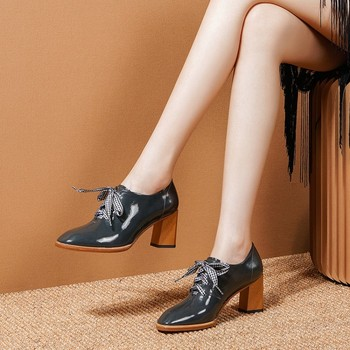 MLJUESE 2020 women pumps cow leather autumn spring lace up cyan color square toe high heels lady shoes size 34-41