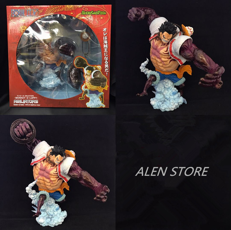 ALEN Anime One Piece Monkey D Luffy Gear Fourth Luffy PVC Action Figures Collection Model Kids Toys Doll 22CM anime one piece monkey d luffy gear fourth pvc action figure collection model toy