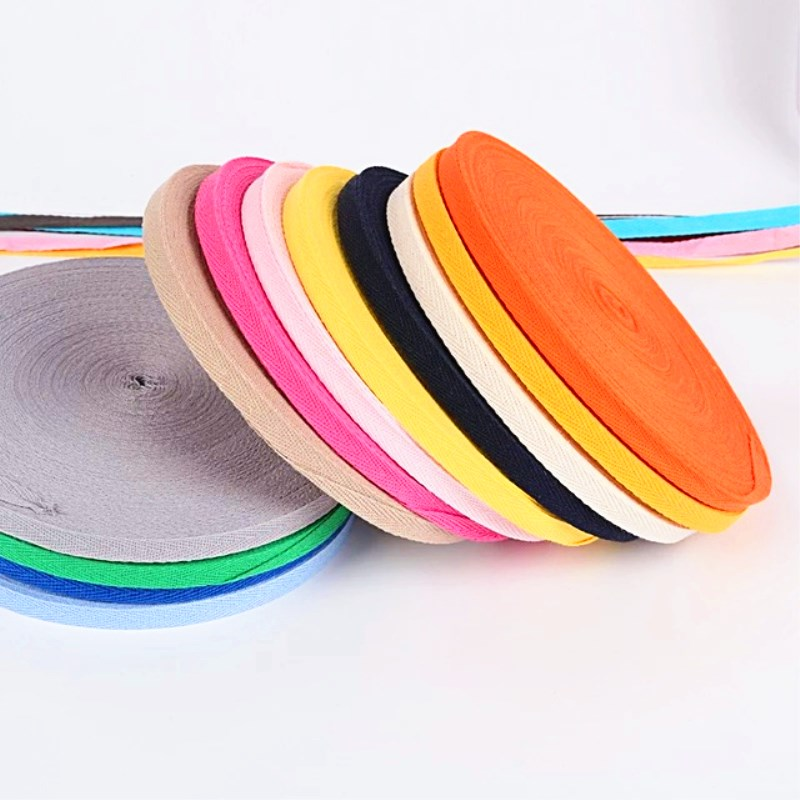 Ribbon 10mm Wide <font><b>50</b></font> Yards/lot Pure Color Tape Herringbone <font><b>100</b></font>% Cotton Webbing 1cm Braided Strap Backpack Belt One Lot One Color image