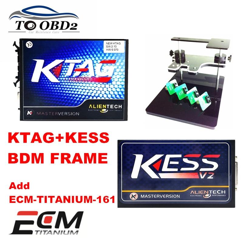 Цена за Добавить ECU-TITANIUM-161 Программное Обеспечение Новый KTAG + KESS V2 + BDM КАДР Авто ЭКЮ Чип Тюнинг Сканер KTAG 2.13 HW6.070 KESS 2.30 HW6.070