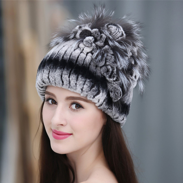 2016 mink thermal ear fur hat rex rabbit hair knitted millinery fox fur knitted millinery vay 1355