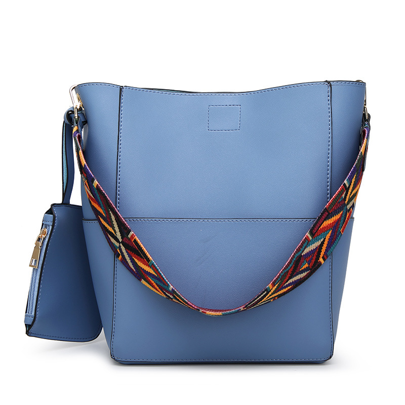 Gray Medium Women Shoulder Bag With Colorful Fabric Strap Pu Leather Handbag Composite Bags For Female Bucket Purses In From