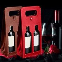 Fabrikanten Maatwerk Groothandel Wijn Zakken Hoogwaardige Rode Wijn Carrier Gift Verpakking met Lederen Tote Hollow Wijn Bag