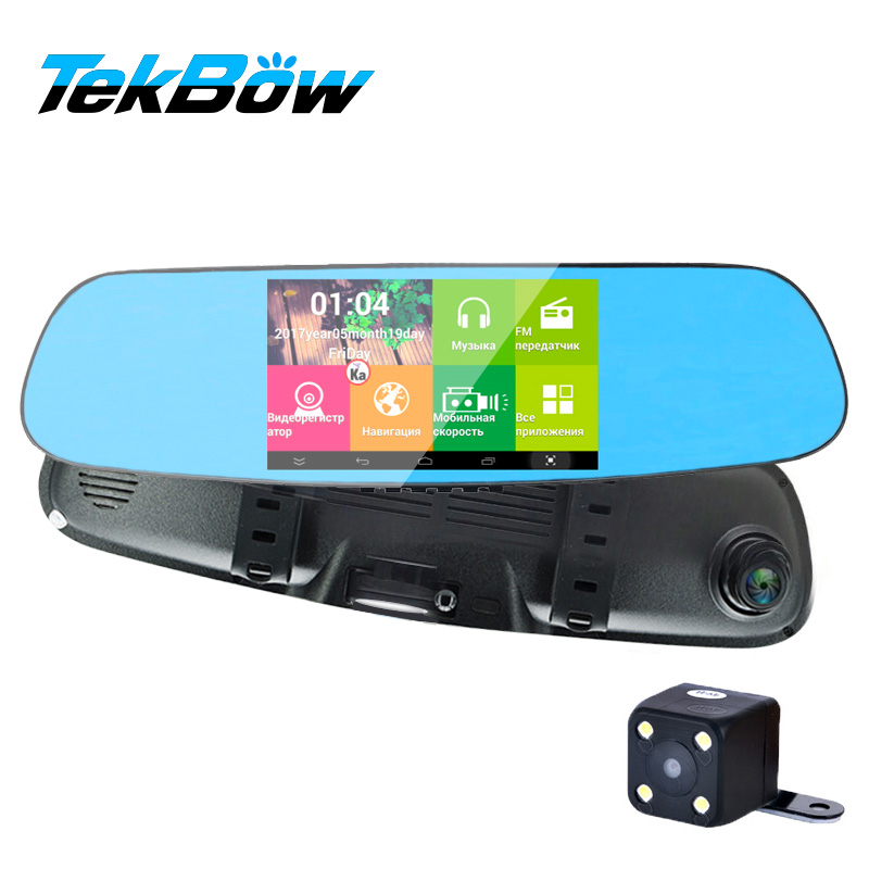 Tekbow 5' Car DVR 3 in 1 Radar Detector Dash cam Android Wifi Rearview Mirror Camera GPS Navigator Night Vision Parking Monitor 4 3 wince 5 0 gps navigator rearview mirror w av in fm 2gb us canada mexico maps tf card