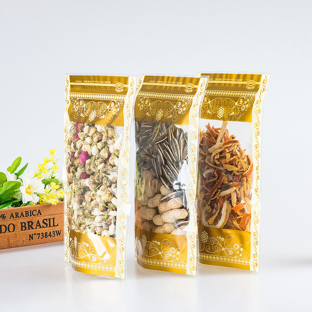 50pcs Printed gold flower transparent self supporting ziplock zipper bag Dried fruit specialty tea food packing bags with window