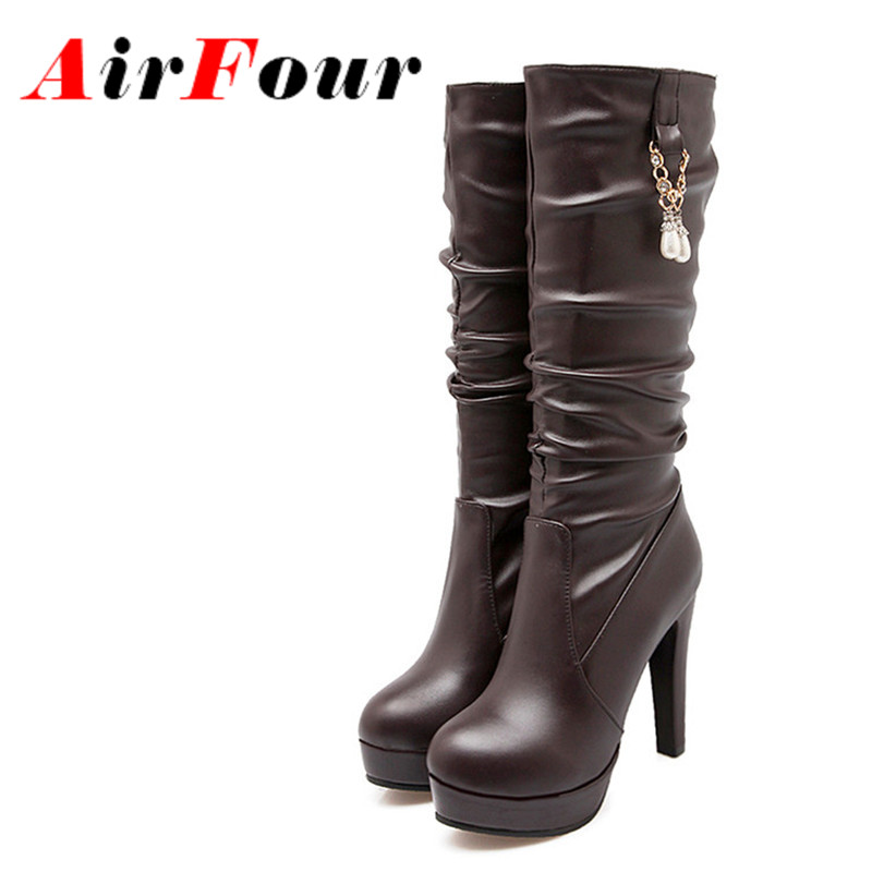 ФОТО Airfour Rhainstone Charms Shoes Woman Round Toe White Shoes Platform Mid-calf Boots for Women Motorcycle Boots High Heels Shoes