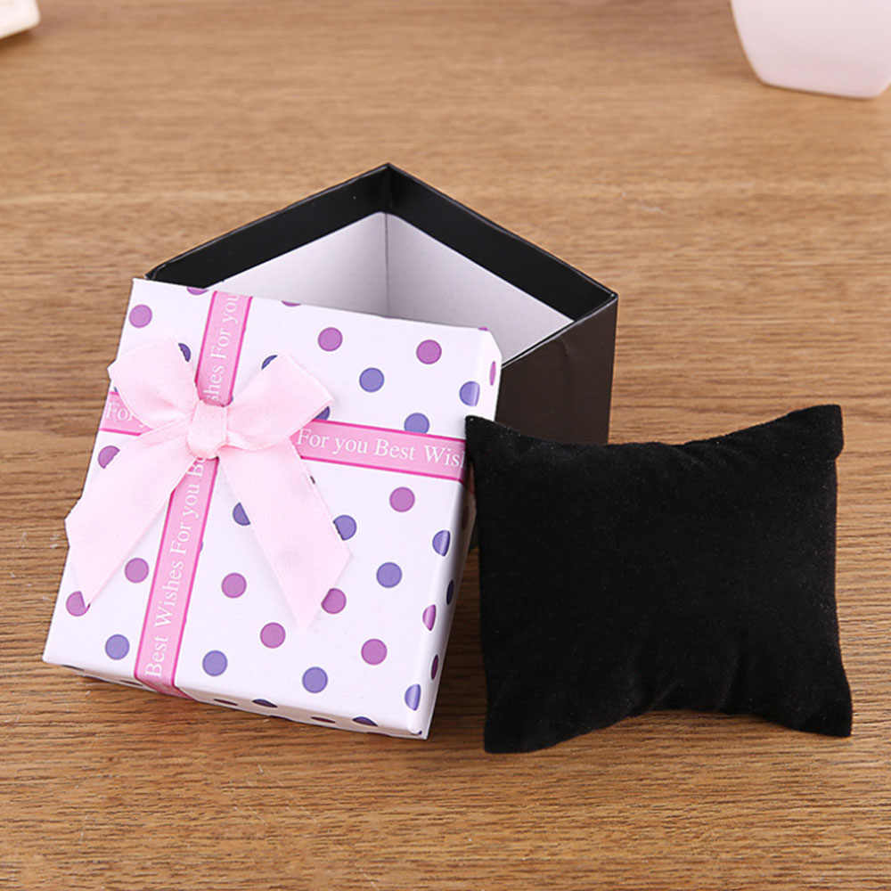 Square Earrings Ring Jewelry Gift Box Storage Display Box Casket for Decorations Coffin Watch Box Bow Knot Paper Clock Box