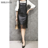 SHILO GO Leather Dress Womens Autumn Fashion sheepskin genuine Leather Dress straps Concise sleeveless straight Tassel dress