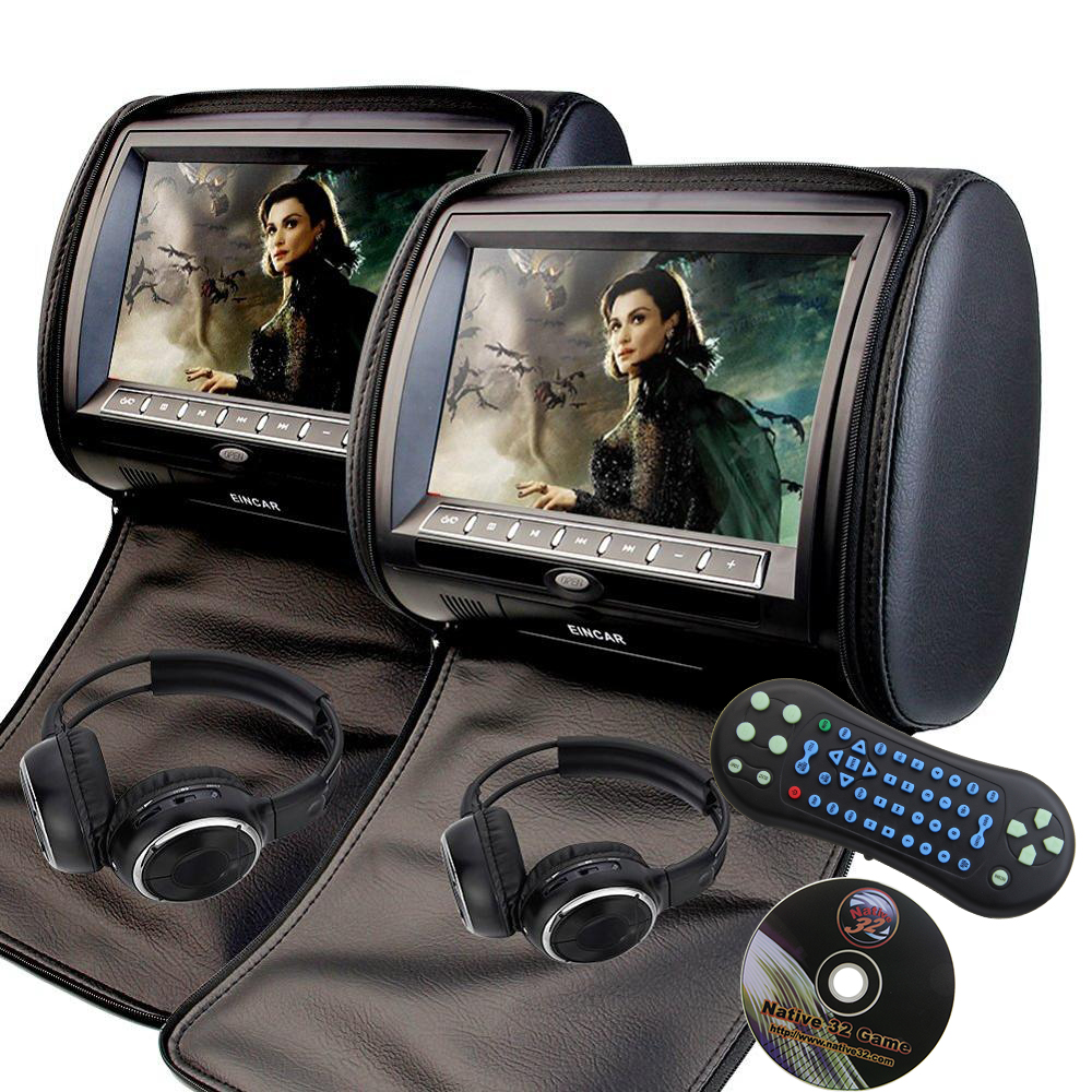 2 PCS 7Inch Car Headrest Monitor DVD Player USB/SD/HDMI/FM TFT LCD Screen Touch Button 32 Bit Game Remote Control+2 headphones eincar car 9 inch car dvd pillow headrest two monitor lcd screen usb sd 32 bit game fm ir multimedia player free 2 ir headphones