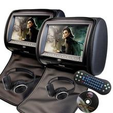 2 unids 7 pulgadas reposacabezas coche Monitores reproductor DVD USB/sd/HDMI/FM pantalla táctil TFT LCD botón 32 bits Control Remoto + 2 auriculares