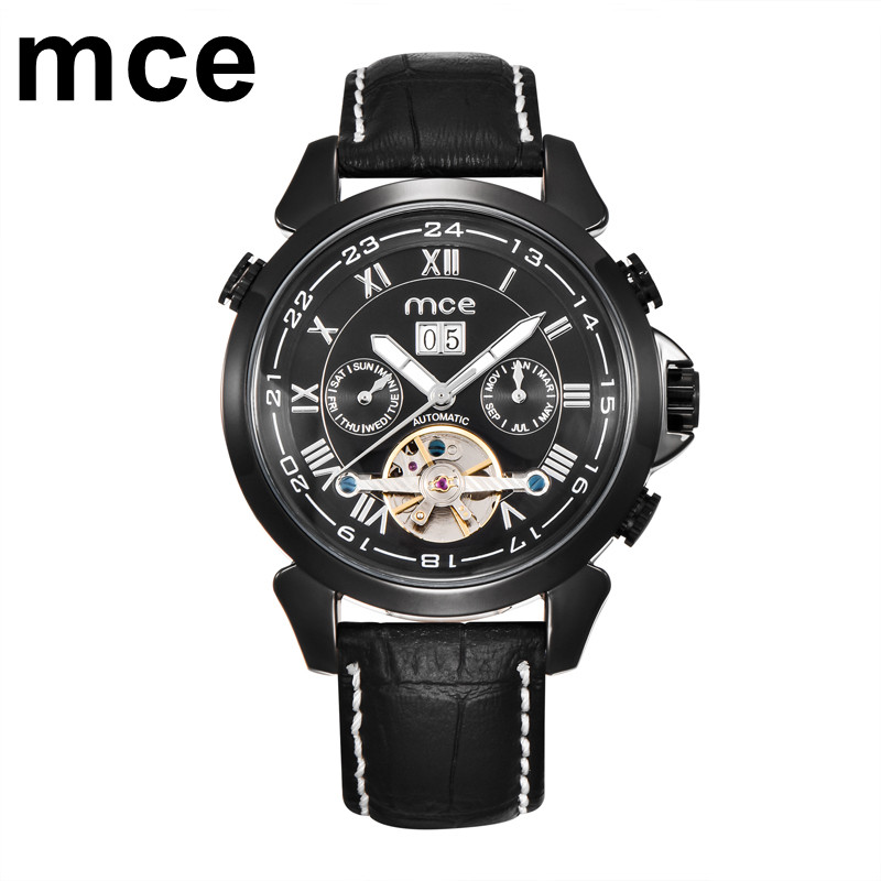 mce Automatic Mechanical Watch Men Black Leather Strap Date Day Year Month Calendar Wristwatches Men Casual relogio masculino forsining a165 men tourbillon automatic mechanical watch leather strap date week month year display
