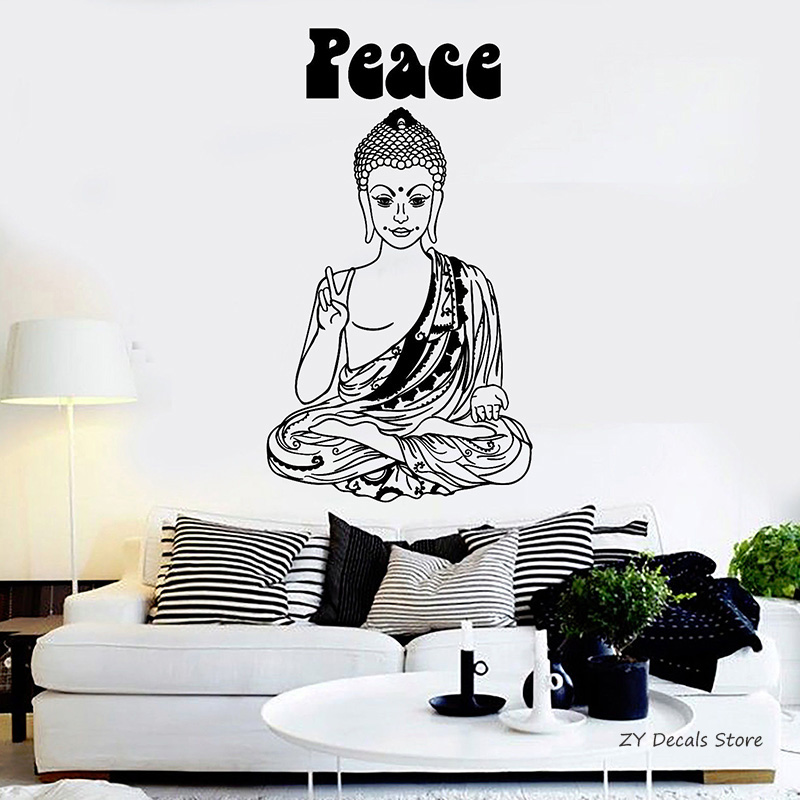 Home Decor Alert Zooyoo Meditation Wall Sticker Om Art Home Decor Mural Buddha Namaste Yoga Wall Decal Peace Lotus Flower Design Decoration