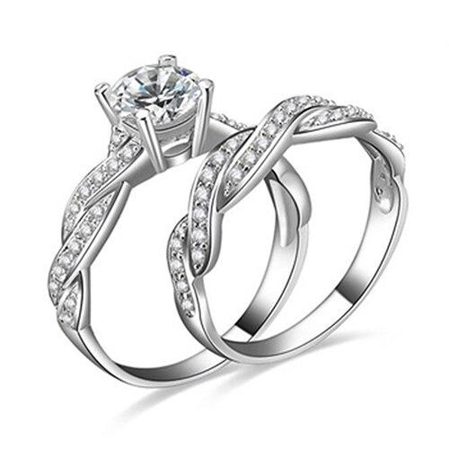 2 pcs womens silver plated rhinestone engagement wedding ring set 8jouchina mainland - Wedding Ring Set For Women
