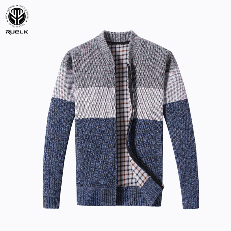 RUELK 2018 Hot Sale Brand-Clothing Spring Cardigan Male Fashion Quality Cotton Sweater Men Casual Navy Redwine Mens Sweaters