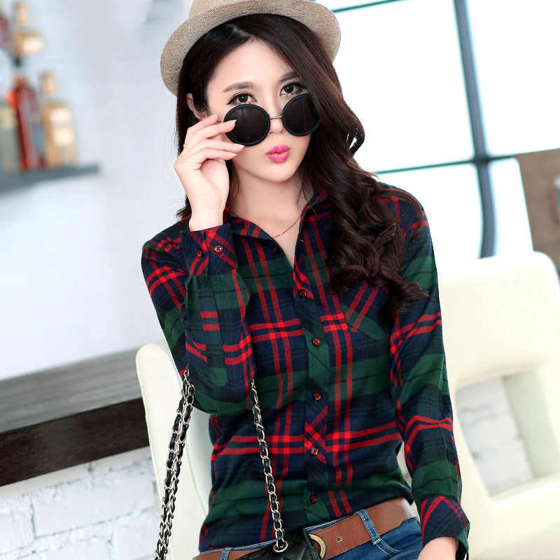 dca8c0ca732ee1 2018 Brand New Women's Plaid Shirts Checked Casual Cotton Shirts British  New Designer Style Female Long
