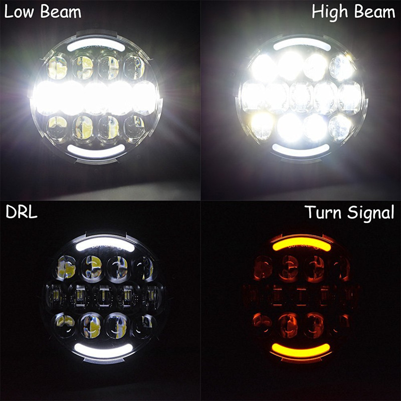 Nuevo diseño redondo 105W 7 pulgadas led faro de motocicleta led luz - Luces del coche - foto 6