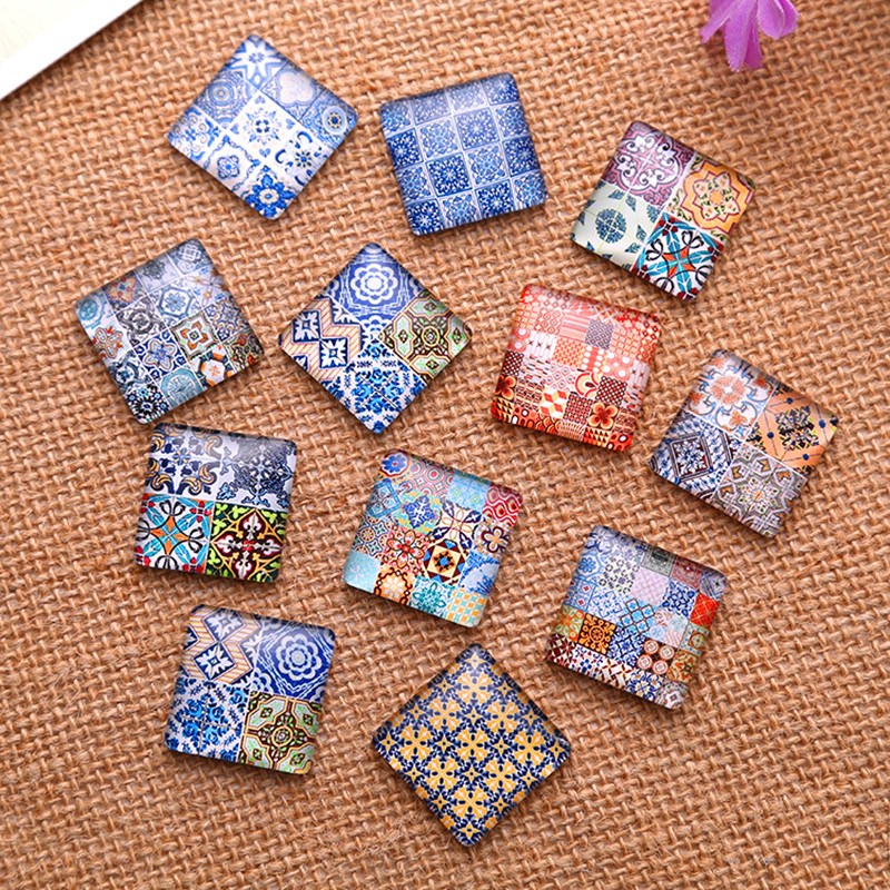 100Pcs Multicolor Patterns Square Glass Cameos Cabochons Epoxy Domes Jewelry Making 25x25mm in Jewelry Findings Components from Jewelry Accessories