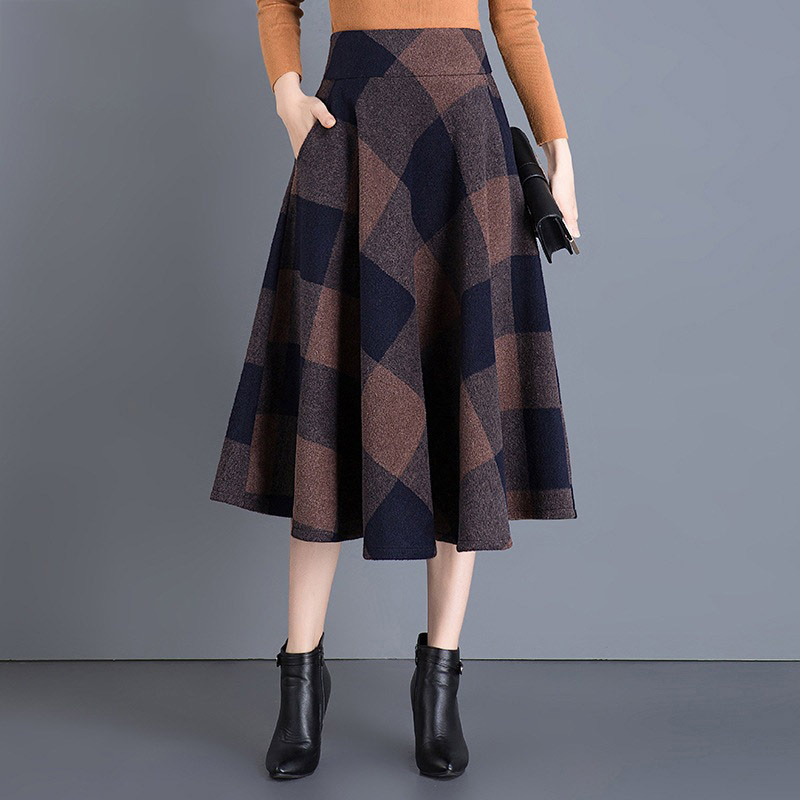 Women 39 s Woolen A Line High Waist Plaid Pleated Skirt Thick Grid Mid Calf Scottish Style Skater Midi British Style retro skirts in Skirts from Women 39 s Clothing