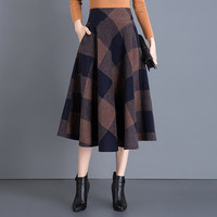 Women's Woolen A Line High Waist Plaid Pleated Skirt Thick Grid Mid Calf Scottish Style Skater Midi British Style retro skirts