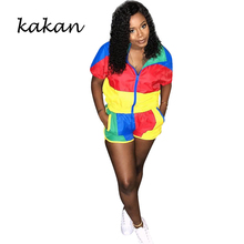 Kakan summer new womens jumpsuit two-piece color block stitching sunscreen shorts suit