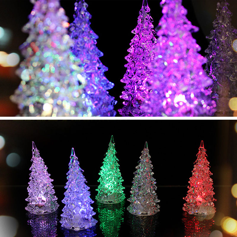 Tree decorations changing night lamp new year decor lot of