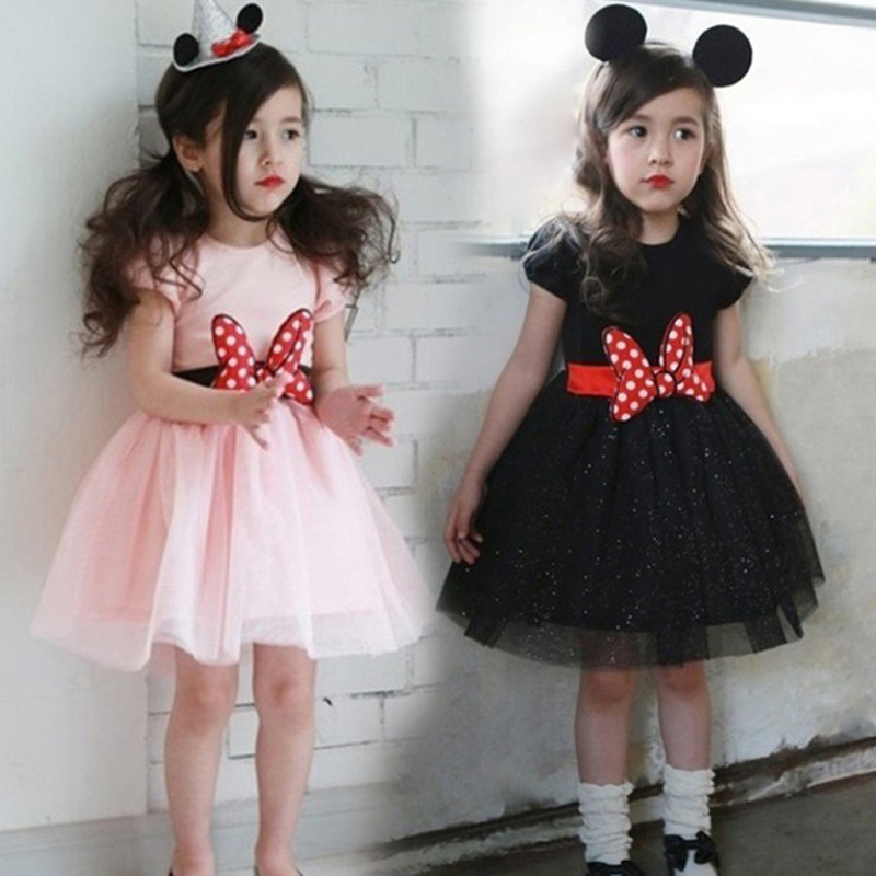Pink Girl Tutu Dresses Birthday Party Dress Halloween Cosplay Minnie Mouse Bow Casual Dress Princess Wear Clothing