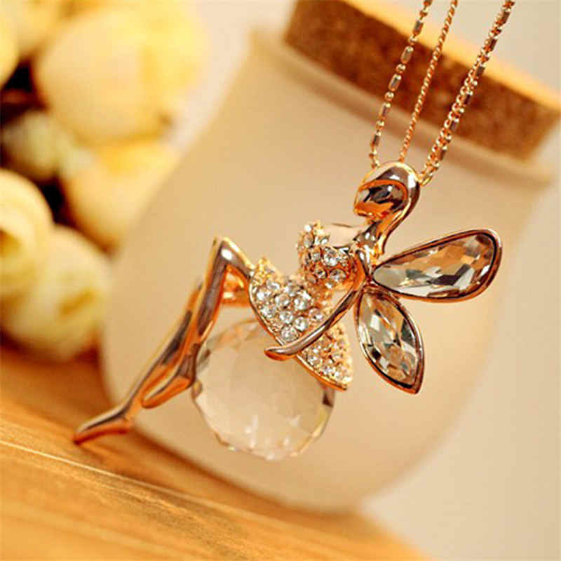 New LNRRABC Women Crystal Shiny Fairy Rhinestones Angel Wings Long Chain Party Pendant Necklace Sweater Chain Fashion Jewelry