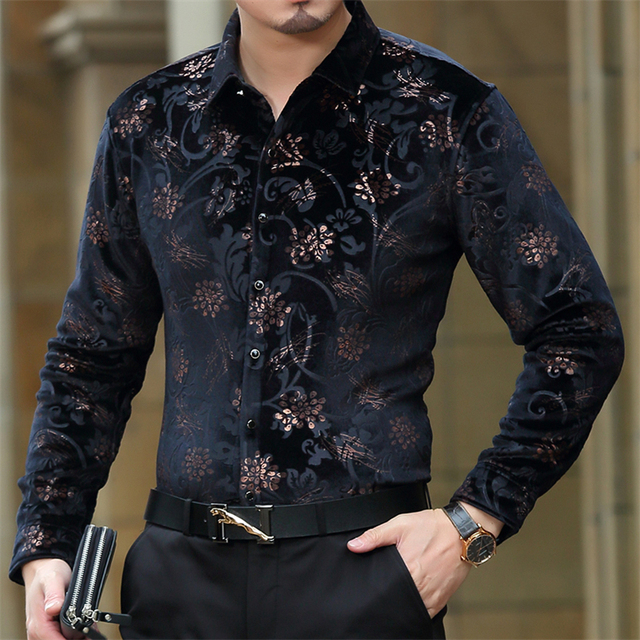 Floral printing high-end gold velvet boutique long-sleeved shirt Autumn&Winter New fashion casual quality men shirt S-4XL