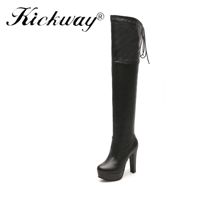 03b9893fb Kickway Plus size 34-45 Women Boots PU Leather Over The Knee Boots For  Women Black Red Sexy High Heels Long Ladies Party Shoes