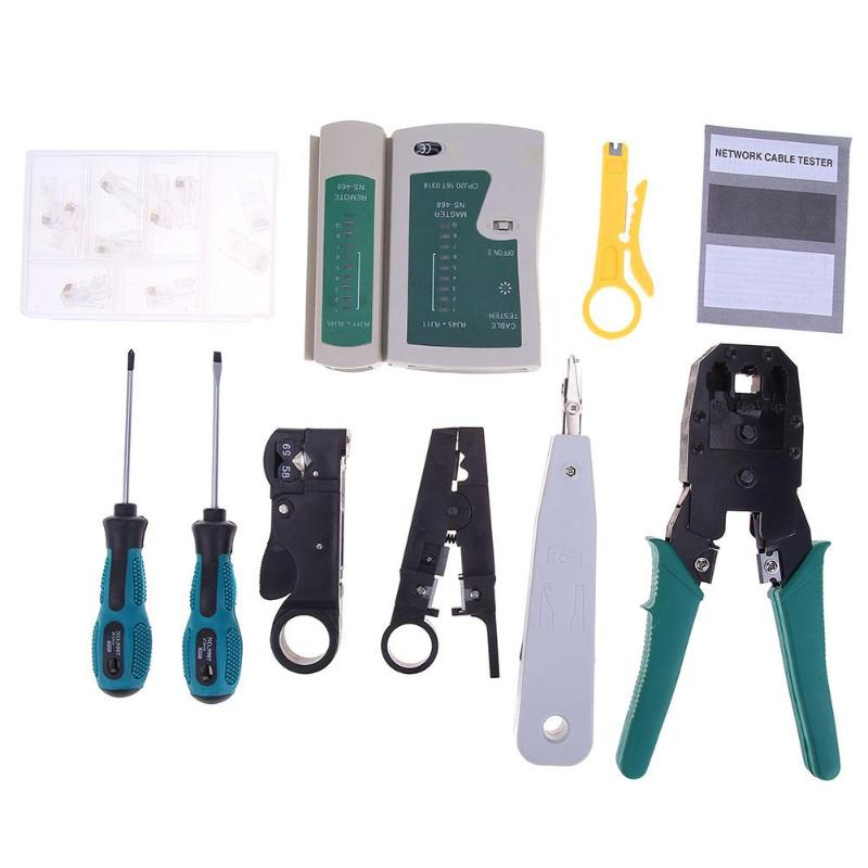 11 in 1 Computer Network Repair Tool Kit LAN Cable Tester Wire Cutter Screwdriver Pliers Crimping Maintenance Tool Set With Bag
