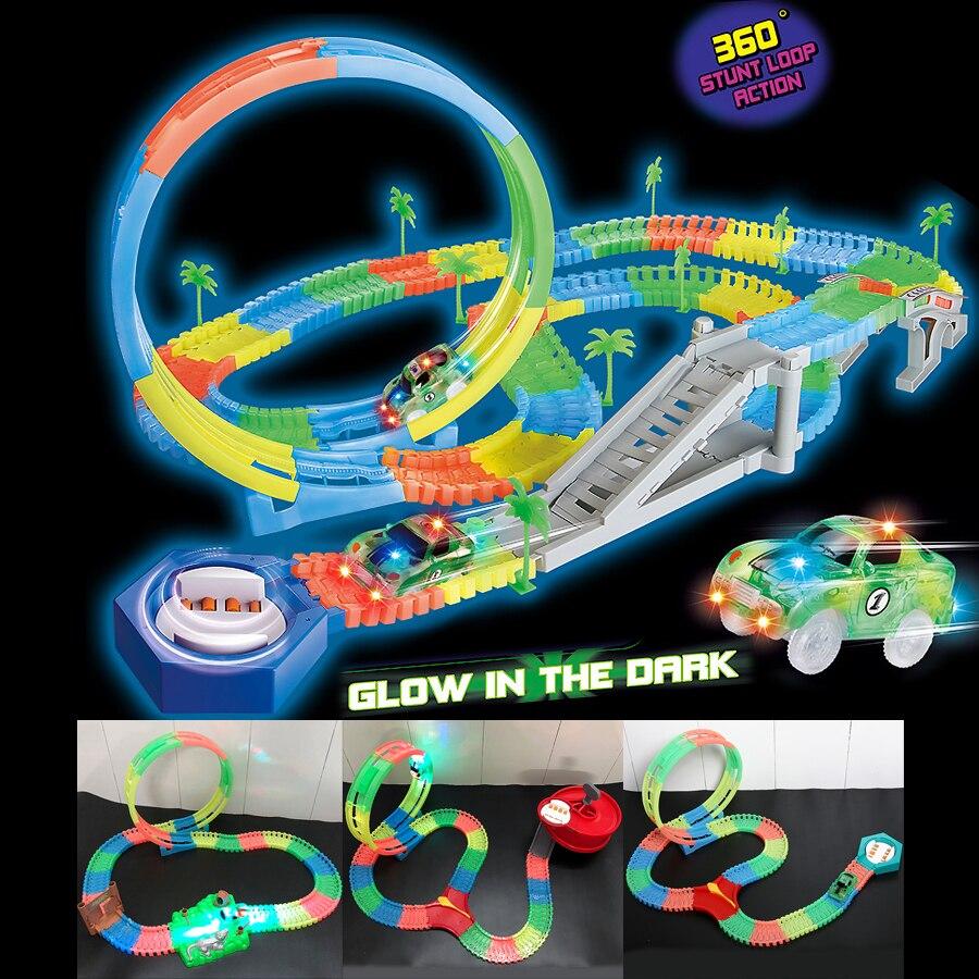 Magic Twister pista flexible 360 pista de carreras de bucle de truco que puede doblar, flexionar y brillar DIY montaje de pista luminosa con coche de carrera LED