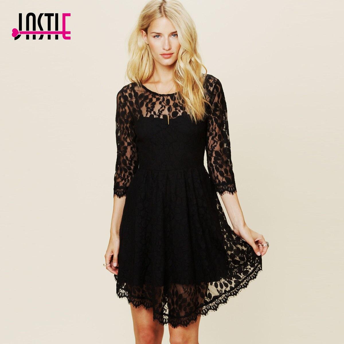 Jastie цветочное Сетчатое летнее платье Boho Хиппи с вышивкой, прозрачные кружевные платья с нижней кромкой, женское платье(без подкладки - Цвет: Черный