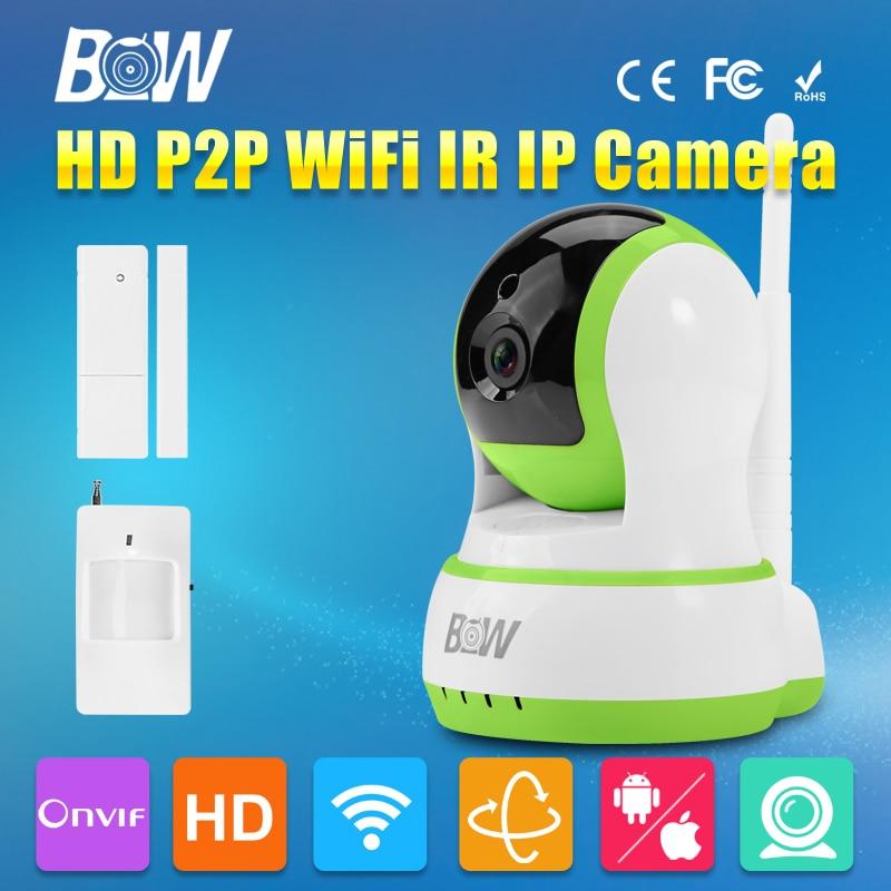 ФОТО BW HD 720P Mini IP Camera Wifi P2P Wireless + Door & Infrared Motion Sensor P/T Security Surveillance CCTV Network Onvif Indoor