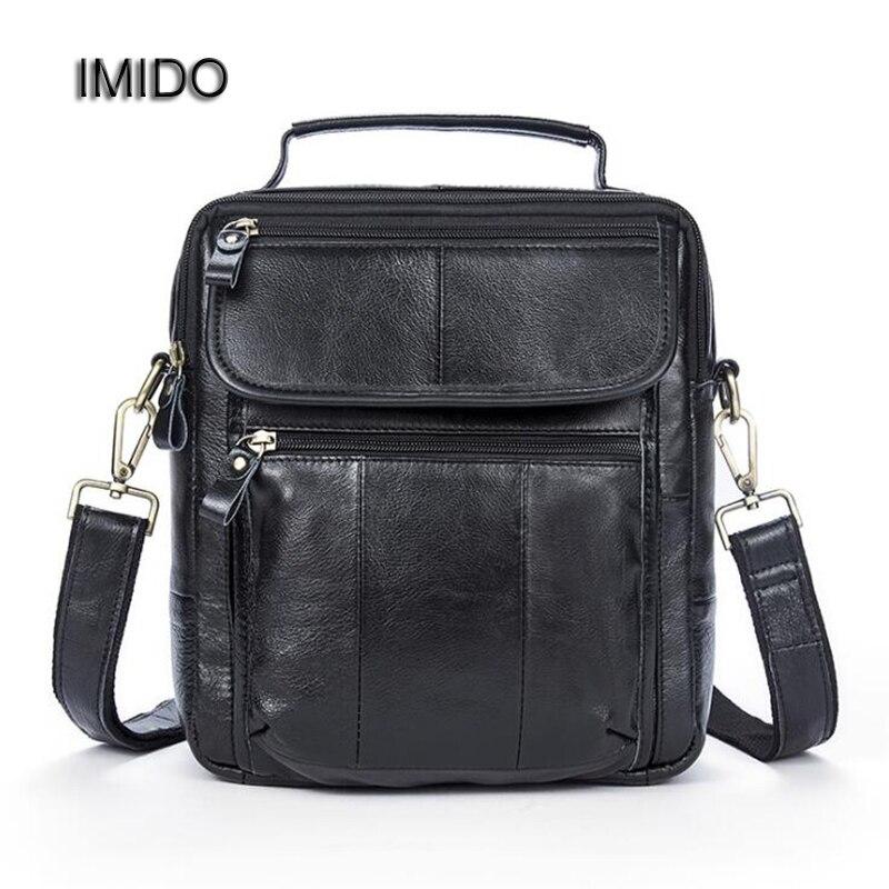 IMIDO Black Genuine Leather Men Bags Male Cowhide Flap Bag Shoulder Crossbody Bags Handbag Messenger Bags for Business  NB002