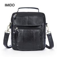 IMIDO Black Genuine Leather Men Bags Male Cowhide Flap Bag Shoulder Crossbody Bags Handbag Messenger Bags for Business NB002
