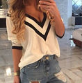 2016 Womens Blouse Half Sleeve Button Women's Shirts Vertical Striped Chiffon Career Tops Shirt Blusa Female blouse half sleeve